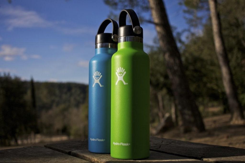 botella hydro flask standard mouth 18 oz azul y verde