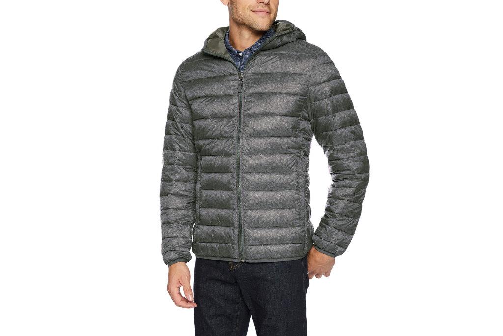 chaqueta plegable y resistente al agua amazon essentials gris