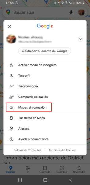 mapas sin conexion en google maps